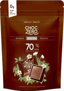 Store Bought Keto Desserts - Choc Zero 70% Dark Chocolate Squares – Sugar Free